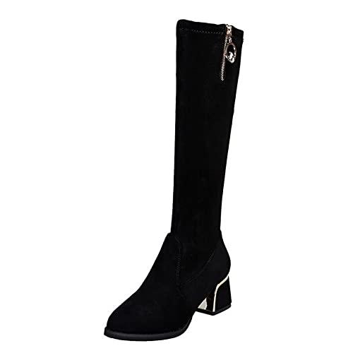 Botas Informales de Invierno para Mujer Botas de calcetín Largo sin Cordones Botas Altas hasta la Rodilla elásticas de tacón de Bloque de Todo fósforo Modernas para Mujer