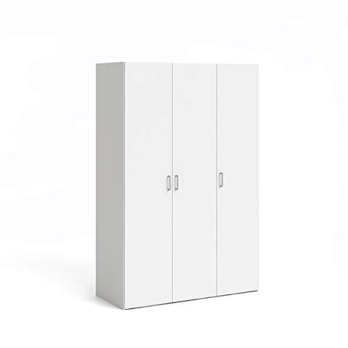 Dmora Armadio Guardaroba a Tre Ante battenti con Quattro Ripiani Interni e Barra Appendiabiti, Colore Bianco, cm 115 x 175 x 49