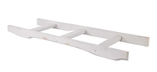 Obstkisten-online 1x weiße Holzleiter mit 4 Sprossen -NEU- 100cm - als Handtuchhalter weiß, Wanddeko, Lampenhalter, Rankgitter - Deko für innen & außen