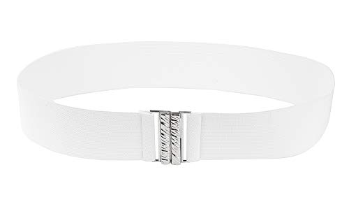 Modeway Women Wide Elastic Belt Cinch Belt Ladies Cummerband (M-L(30'-33'), White)