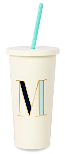 Kate Spade New York Insulated Initial Tumbler with Reusable Straw, 20 Ounce Acrylic Travel Cup with Lid, M (Blue)