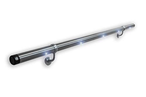 PiccoRail LED- Edelstahl-Handlaufset mit 1 Bewegungsmelder - L1 Länge=1,5m