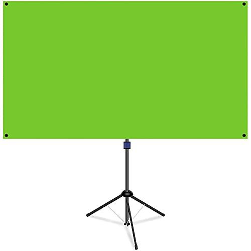 NAQIER 80 Zoll Green Screen mit Stativ,Green Chroma key,GreenScreen mit ständer 183x106cm,16:9 tragbarer grüner Hintergrund,Hintergrund Rückwand für Live Streaming und Videos, Virtual Studio Wand