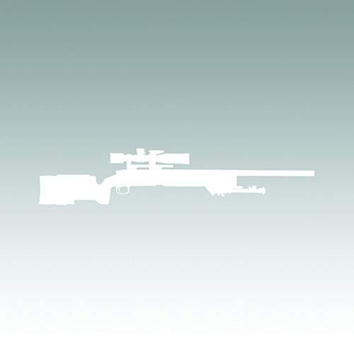 M40A3 Sniper Rifle Sticker - Decal - Die Cut - Marines m40 USMC - White 7.00' x 1.44' with Custom Text