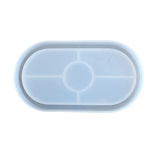 Molde de silicona, espejo de maceta de bricolaje, posavasos ovalado epoxi, molde 3D reutilizable para macetas de plantas suculentas, molde de arcilla de cemento de hormigón
