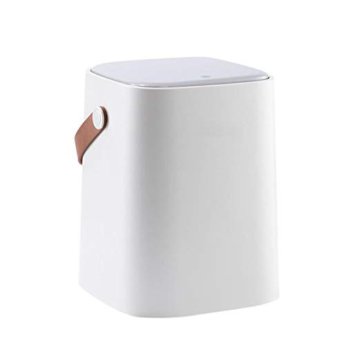 L@YC Portable 2 Tier Plastic Kitchen Waste Trash Can with Handle Compost Drainer Bin Waste Trash Can,Weiß