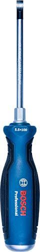 Bosch Professional 1600A01TG0 Destornillador plano, cromo vanadio, mango softgrip con cabezal de acero, azul, SL5.5x100mm
