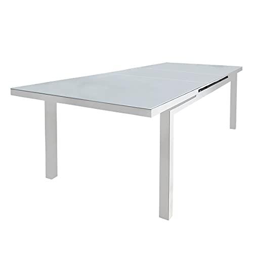 Meubletmoi Table de Repas Extensible en Aluminium Blanc et Plateau en Verre trempé 10 convives 75 x 250 x 100 cm - ATLAN