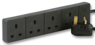 Aptii 2m Black 4 Gang Power Strip Extension Cord Mains Plug