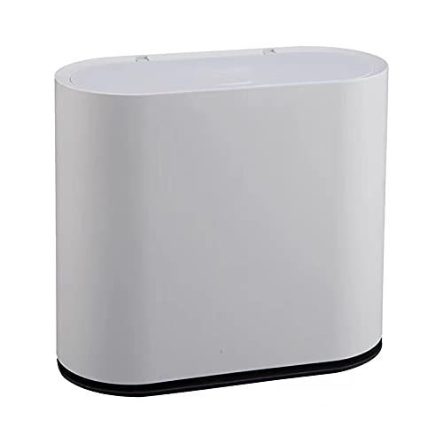 KLGO 10 Liter Slim Plastic Trash Can with Lid,2.4 Gallon Double Barrel Waste Basket,Rectangular Garbage Container Bin for Bathroom,Bedroom,Kitchen and Office,Grey