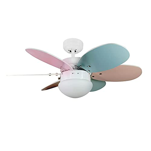 Wonderlamp -Ventilador de Techo con luz Tauro, Palas reversibles, 1xE27, Máx. 60W, 3 velocidades, Verano/Invierno, Multicolor
