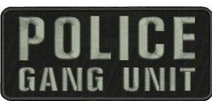 Police Gang Unit Embroidery Patch 4x10 Hook on Back blk/Gray/////