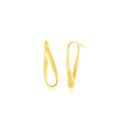 Pendientes de aro cruzado, hilo plano, 40/10 mm/3 mm, oro amarillo 9 K (375) 1,82 G