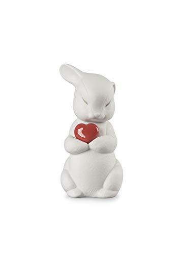 LLADRÓ Puffy-Generous Rabbit Figurine. Porcelain Love Figure.