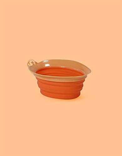 United Pets Leaf Bowl Ciotola da Viaggio per Cani, di Design, Pieghevole e Portatile, in Silicone Atossico, Arancione