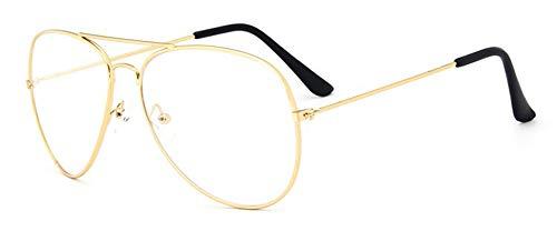VEEKO Retro Gafas transparentes hombre mujer gafas sin graduar gafas sin cristales nerd gafas metal Decorar monturas gafas con gafas funda