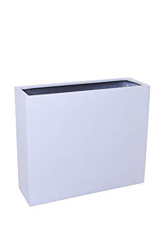 VIVANNO Pflanzkübel Raumteiler Trennelement Sichtschutz auf Rollen aus Fiberglas Elemento, Weiß Matt