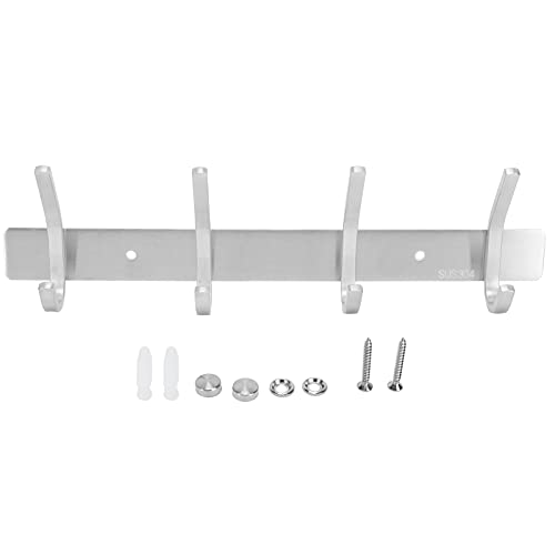 Towel Hooks, Stainless Steel Wall Hanger Wall Mounted Brushed Simple Style 4‑Hook Wall Hanging Rack for Coats Jacket Towel Key Bags