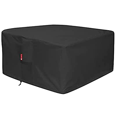 """SheeChung Fire Pit Cover - Waterproof 600D Heavy Duty Square Patio Fire Pit Table Cover Black (Square - 32"""" L x 32"""" W x 16"""" H)"""