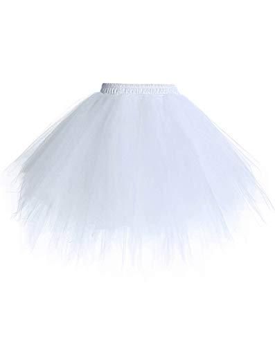 Timormode Tutu 50 - Falda de tul, corta, vestido de danza de ballet, color blanco, L