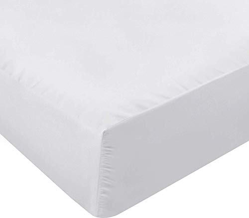 Utopia Bedding Sábana Bajera Ajustable - Bolsillo Profundo - Microfibra Cepillada - (Blanco, 90 x 190 cm)