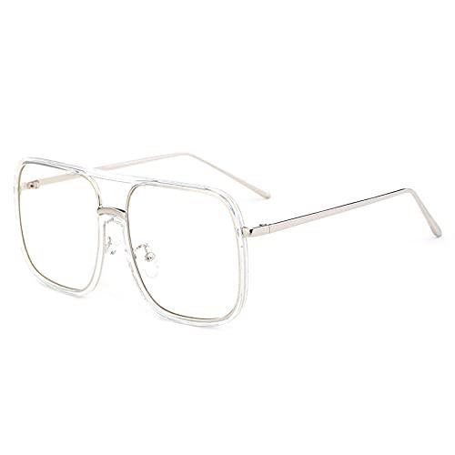 JINZUN Gafas de Sol cuadradas con Montura Grande, Tendencia, Gafas de Sol para Disparar en la Calle, Visera Solar Anti-Ultravioleta de Moda, Marco Transparente, película Blanca