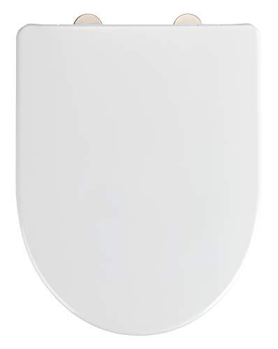 WENKO WC-Sitz Exclusive Nr. 9, hygienischer Toilettensitz mit Absenkautomatik, passend für Keramag Icon, 4U und handelsübliche Keramiken, WC-Deckel aus antibakteriellem Duroplast, 36,5 x 47 cm, Weiß