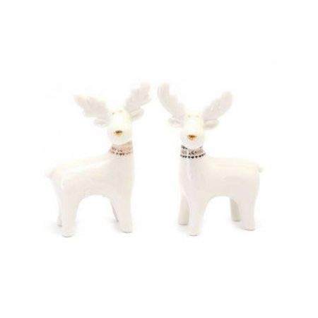 HomeZone Set of 2 Ceramic Standing Reindeer Ornaments Christmas Home Decor Festive Decorations Porcelain Free Standing White Xmas 2pc Reindeer
