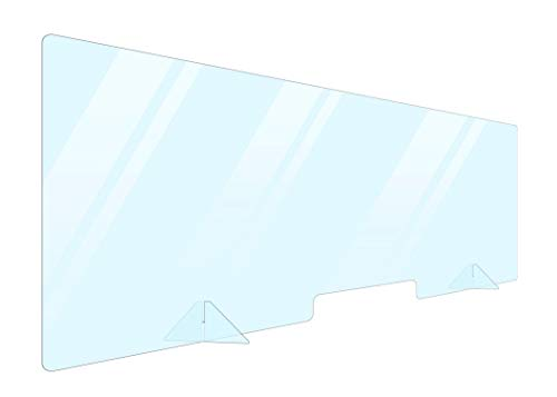 Portable Acrylic Plexiglass Sneeze Guard Shield for Counter 60x24. Barrier from Sneezing and Coughing Germs. Cashier Protection Sneeze Guard for Desk and Countertops. Multiple Sizes Available