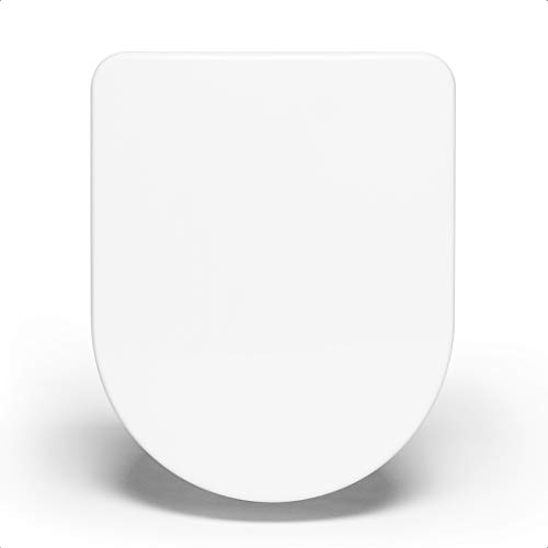 Bullseat® 4.1   Toilettendeckel mit Absenkautomatik   WC Sitz abnehmbar mit Edelstahlbefestigung weiß (Toilettensitz D-Form)