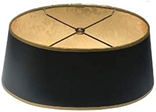 Upgradelights Black with Gold Shallow Oval Vintage Baldwin Bouillotte Lampshade (16 Inch)
