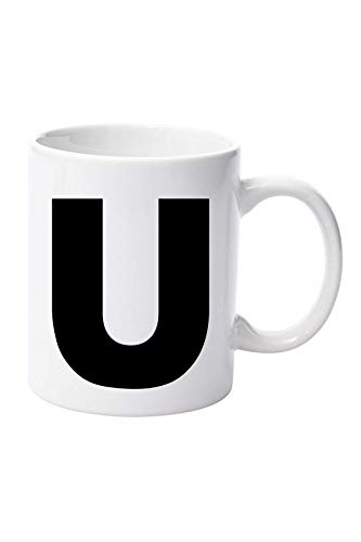 Taza personalizada cualquier letra del alfabeto tazas taza de café, regalo de cumpleaños, día del padre, 11 oz taza de cerámica taza de Navidad, cumpleaños, Navidad, Día de la madre (L)