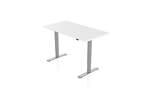 Könighaus Ergonomischer Schreibtisch - Elektrisch Höhenverstellbar (Graues Gestell mit Weißer Tischplatte)