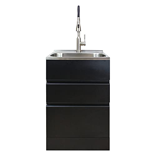 Transolid TC2D-2222-BB All-in-One 22 in. x 22 in. x 35 in. Metal Undermount Laundry/Utility Sink and Cabinet in Matte Black