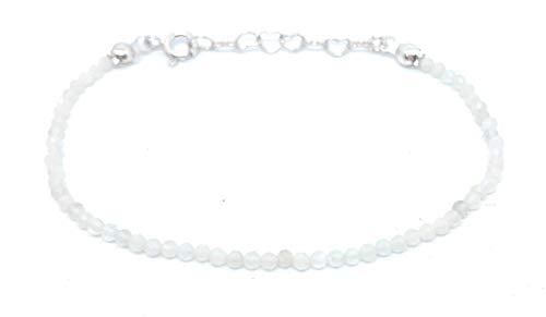 Bracelet pierre de lune naturelle 2mm longueur réglable de 16cm à 19cm