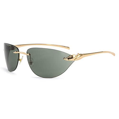 LUOXUEFEI Gafas De Sol Gafas De Sol Sin Montura Mujer Hombre Oro Negro Azul Hombre Mujer Gafas