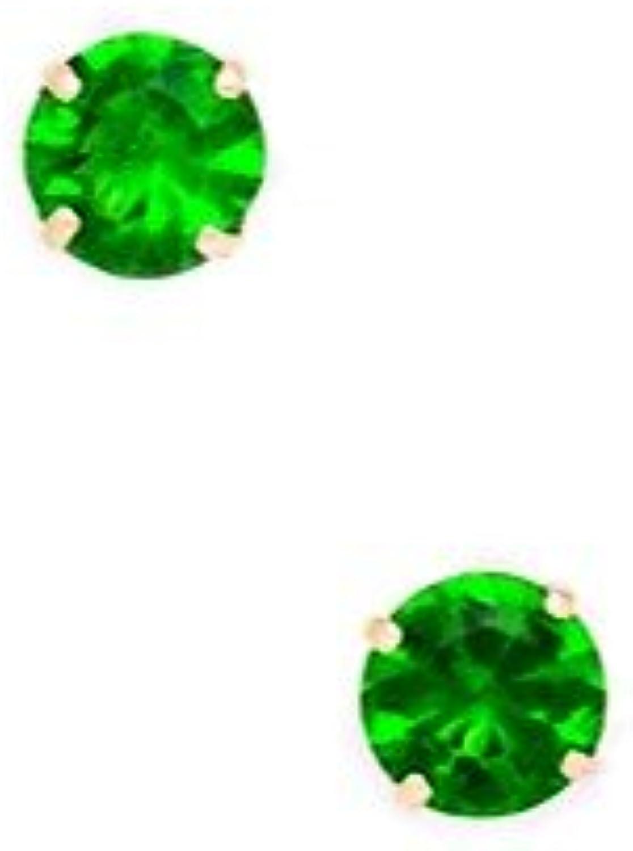 14 kt yellowgold, greener Geburtsstein für Mai (5 mm, rund, Zirkonia, Set Ohrringe JewelryWeb