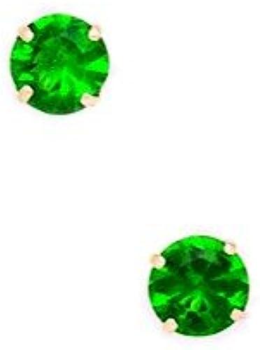 14 kt GelbGold, Größer Geburtsstein für Mai (5 mm, rund, Zirkonia, Set Ohrringe JewelryWeb