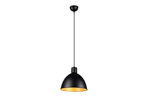 meineWunschleuchte Pendelleuchte im Industrie Look mit Metall Lampenschirm Ø 30cm in Schwarz matt und innen Gold