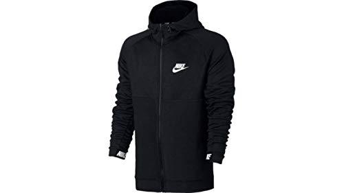 Nike Advance 15 Hoodie FZ Fleece, Felpa Uomo, Nero/Nero/Bianco, L