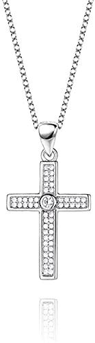 Collar Mujer Collar Hombre Colgante Collar de plata Jesús Cruz con incrustaciones de circonio Unisex Punk Goth Collares Pendientes Joyería Regalos para esposa Mamá Amiga Niñas Cumpleaños Aniversario D