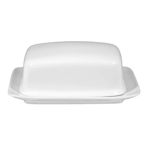Seltmann 001.216031 Rondo/Liane Porzellan Butterdose mit Deckel, Eckig, Weiß, 1/2 Pfd