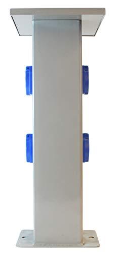 AW-Tools Baustromverteiler Steckdosensäule 4 x 230V Schuko Außensteckdose Gartensteckdose IP44