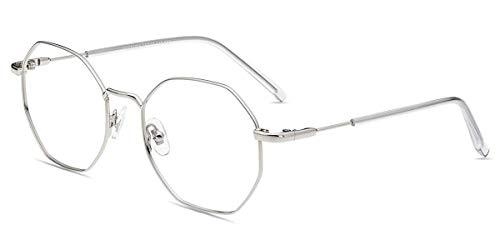 Schutzbrille Blaulichtfilter Brille Anti Augenmüdigkeit Kopfschmerzen, Blendfrei ohne Sehstärke Polygon Brille für Damen Herren Silber