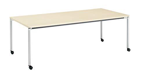 コクヨ ミーティングテーブル JUTO MT-JTMR211S81M10-CN 角形天板 4本脚 丸脚ラウンドコーナー 幅210×奥行100cm 天板ホワイトナチュラル脚フラットシルバー キャスター付
