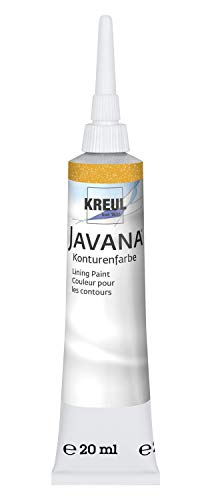 Kreul 813520 - Javana Seidenmalerei Konturenfarbe für Stoffe mit Perlglanzeffekt, 20 ml Tube mit Feinspritzdüse, gold