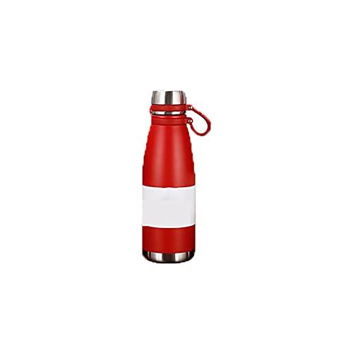 PURPLELU Botella de Agua Deportiva portátil Thermos Thermos con asa, Termo de Gran Capacidad, Adecuado para Deportes/Escalada/Exterior,Rojo,650ml