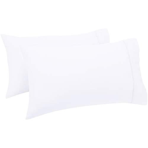 Amazon Basics - Set de 2 fundas de almohada de 400 hilos, 50 x 80 cm - Blanco