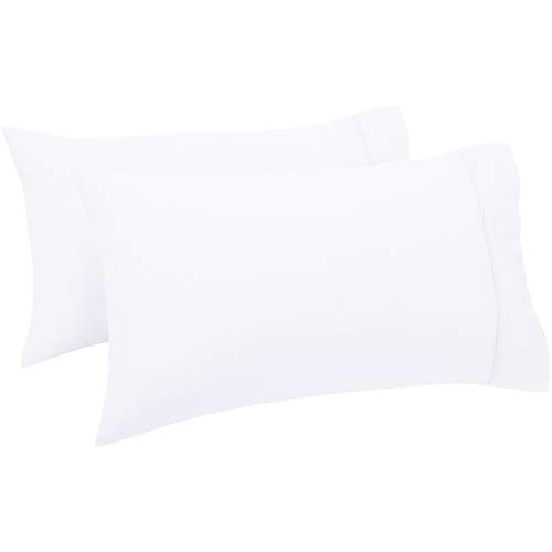 Amazon Basics - Set de 2 fundas de almohada de 400 hilos, 50 x 80 cm - Blanco