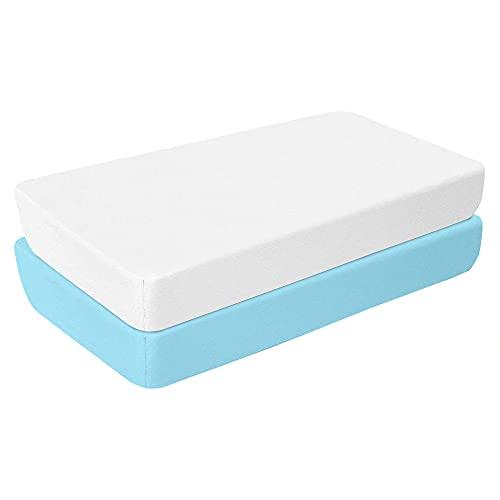 Aminata BALANCE Spannbettlaken 55x90 cm Baby Baumwolle Beistellbett 2er Set - Doppel-Pack - weiß hellblau - mit Gummizug weiches Jersey-Strech für perfekte Passfom an den Ecken - Jungen & Mädchen